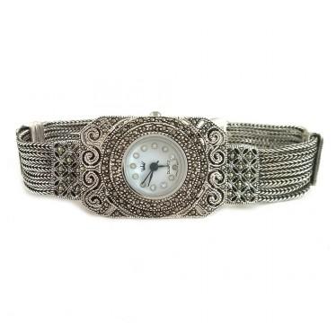 Браслет с Цепями Серебряные Женские Часы с Марказитами