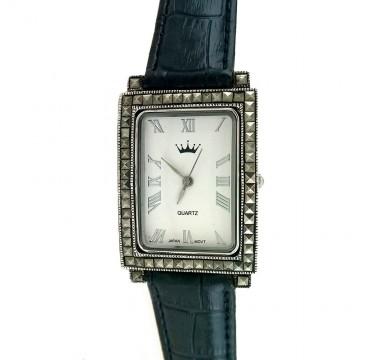 Классические Серебряные Часы с Марказитом и Кожаным Ремешком