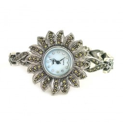 Цветок Женские Серебряные 925 Пробы Часы на Руку с Марказитами