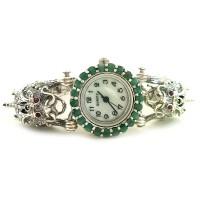 Драконы Серебряные Женские Наручные Часы с Марказитом и Изумрудом