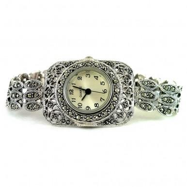 Прямоугольные Женские 925 Серебряные Часы с Марказитом