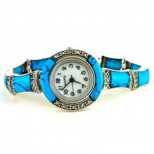 Голубая Бирюза и Марказит Женские Серебряные Наручные Часы