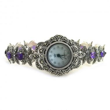 Фиолетовый Аметист и Марказит Серебряные Часы для Женщин