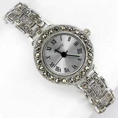 Винтажный Стиль Наручные Женские Часы из Серебра с Марказитом