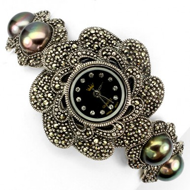 Роскошные Серебряные Женские Часы на Руку с Марказитом и Жемчугом