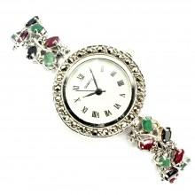 Красивые Наручные Часы из Серебра с Марказитом и Драгоценными Камнями