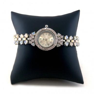 Милые Серебряные Женские Часы с Огненным Опалом Натуральным