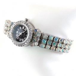 Регулируемые Серебряные Часы Женские с Благородным Опалом