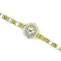 Серебряные Женские Часы с Огненным Опалом, Перидотом и Белым Топазом