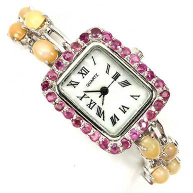 Очаровательные Серебряные Женские Часы с Опалом и Рубином