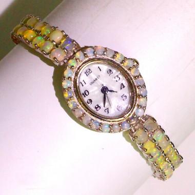 Роскошные Наручные Женские Часы из Серебра 925 Пробы с Опалом