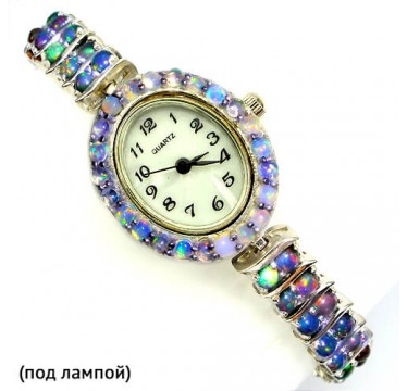 Прелестные Наручные Женские Серебряные Часы с Радужным Опалом