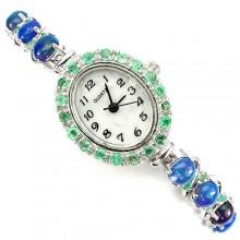 Ослепительные Серебряные 925 Женские Часы с Опалом и Изумрудом