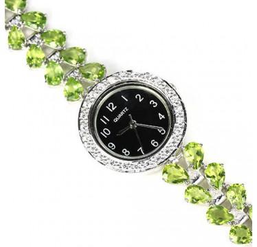 Роскошные 925 Серебряные Часы для Женщин с Зеленым Перидотом