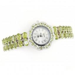 Потрясающие Серебряные Часы с Натуральными Зелеными Перидотами