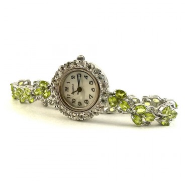 Привлекательные Наручные Женские Серебряные Часы с Перидотом и Топазом