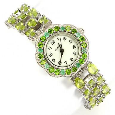 Очаровательные Женские Наручные Часы из Серебра 925 Пробы с Перидотом
