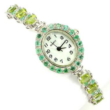 Красивые Наручные Женские Часы из Серебра с Перидотом и Изумрудом