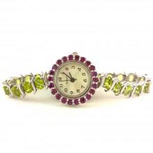 Драгоценные Серебряные Часы для Женщин с Перидотом и Гранатом