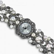 Серебряные Женские Наручные Часы с Природным Жемчугом и Марказитом