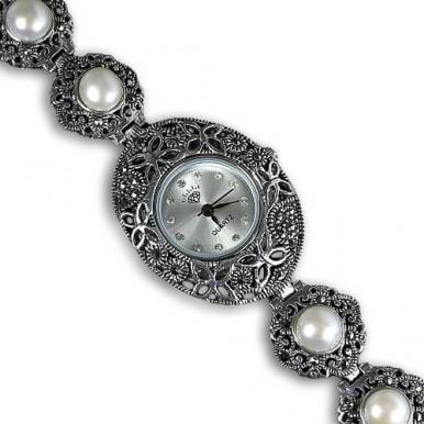 Ювелирные Женские Наручные Часы из Серебра с Жемчугом и Марказитом