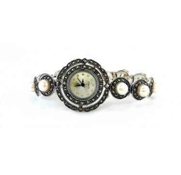 Женские Серебряные Часы на Руку с Природным Жемчугом и Марказитом