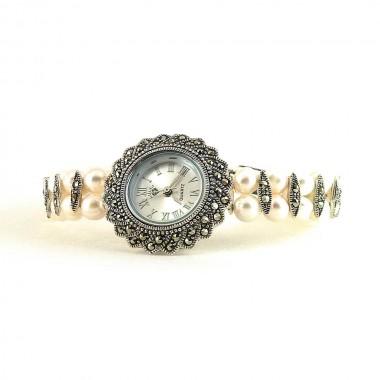 Изящные Серебряные Часы для Женщин с Жемчугом и марказитом