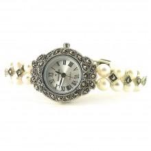 Серебряные Часы Наручные для Женщин с Жемчугом и Марказитом