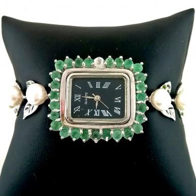 Милые Женские Часы Серебряные с Натуральным Жемчугом и Изумрудом