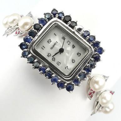 Прелестные Серебряные Женские Часы на Руку с Жемчугом и Сапфиром