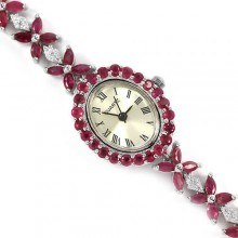 Модные Женские Серебряные Часы с Натуральным Красным Рубином