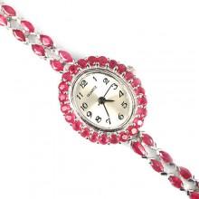 Нежный Розовый Рубин Серебряные 925 Пробы Наручные Часы для Женщин