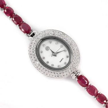 Блестящие Часы из Серебра для Женщин с Природным Рубином на Руку