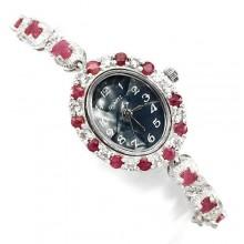 Драгоценные Серебряные Наручные Часы с Натуральным Рубином для Женщин