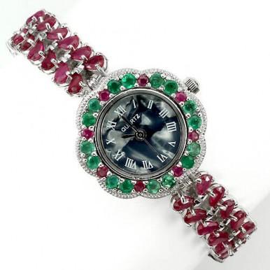 Деликатные Женские Ювелирные Часы с Рубином и Изумрудом из Серебра
