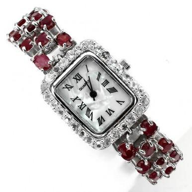 Замечательные Серебряные Часы с Большим Красным Рубином для Женщин