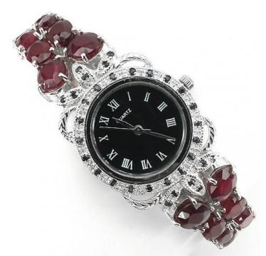 Потрясающие Часы Женские из Серебра 925 Пробы с Рубином и Сапфиром