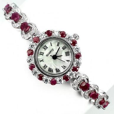 Ювелирные Серебряные Часы для Женщин с Рубином и Фианитом