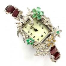 Оригинальные Часы Ручной Работы для Женщин с Рубином и Сапфиром