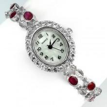 Милые Ювелирные Женские Часы на Руку с Рубином и Белым Топазом