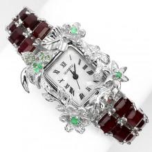 Фееричные Часы Ручной Работы из Серебра 925 Пробы с Красным Рубином