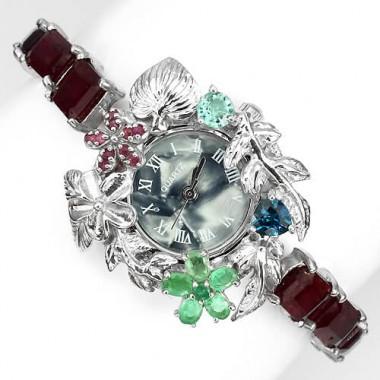 Красивые Женские Часы Ручной Работы из Серебра с Рубином и Топазом