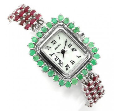 Элегантные Часы Женские из Серебра с Природным Рубином и Изумрудом