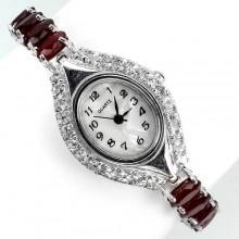 Ослепительные Наручные Женские Серебряные Часы с Рубином и Топазом