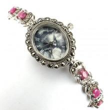 Винтажный Стиль Часы Наручные Серебряные Для Женщин с Рубином