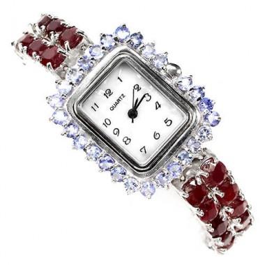 Восхитительные 925 Серебряные Часы с Красным Рубином и Танзанитом