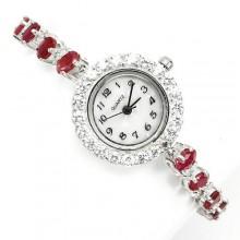 Сияющие Женские Наручные Часы из 925 Серебра с Красным Рубином