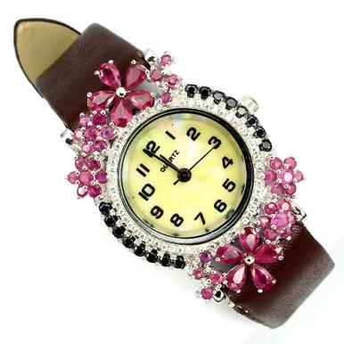 Натуральный Розовый Рубин и Фианит Серебряные Часы на Кожаном Ремешке