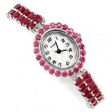 Классные Серебряные Наручные Часы для Женщин с Природным Рубином