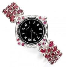 Эксклюзивные Наручные Женские Часы из Серебра с Натуральным Рубином
